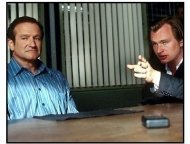 Insomnia movie still: Robin Williams as Walter Finch and Director Christopher Nolan
