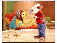 Stuart Little 2 movie still: Stuart Little (voiced by Michael J. Fox) and Margalo (voiced by Melanie Griffith) become fast friends