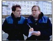 Lucky Break movie still: Jimmy Hands (James Nesbitt) helps his friend Cliff (Timothy Spall) write a love letter
