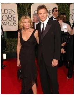 Lian Neeson and wife on the red carpet at the 62nd Golden Globe Awards