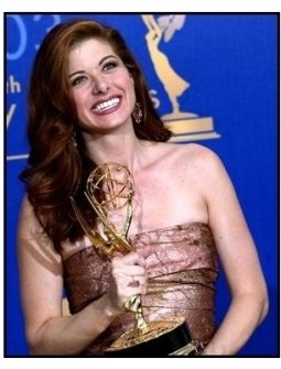 Debra Messing on the backtage at the 2003 Emmy Awards