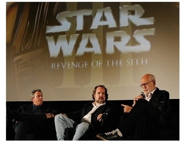 (L-R) Rick McCallum (producer), Rob Coleman (animator direcor) and Frank Oz (voice of Yoda)