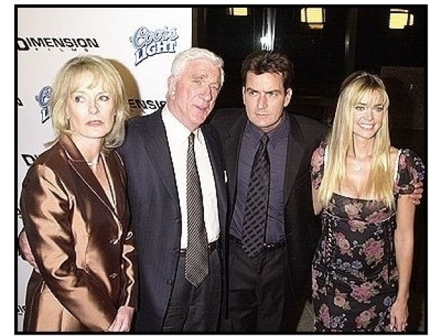 """Leslie Nielsen and his wife with Charlie Sheen and Denise Richards at the """"Scary Movie 3"""" premiere"""