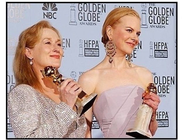 2003 Golden Globe Awards backstage: Meryl Streep and Nicole Kidman