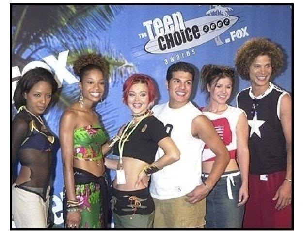 Teen Choice Awards 2002 Backstage:  American Idol Contestants: Christina, Tamyra, Nikki, RJ, Kelly and Justin