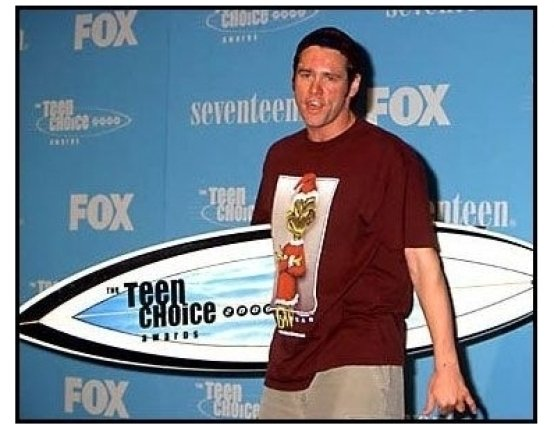 Jim Carrey backstage at the 2000 Teen Choice Awards